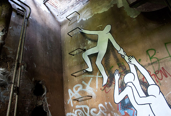 Daan Botlek's Silhouetted Street Art Figures Escape From An Abandoned Building