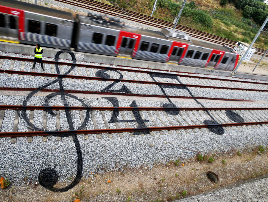 Street Art on Railroad Tracks by Bordalo II