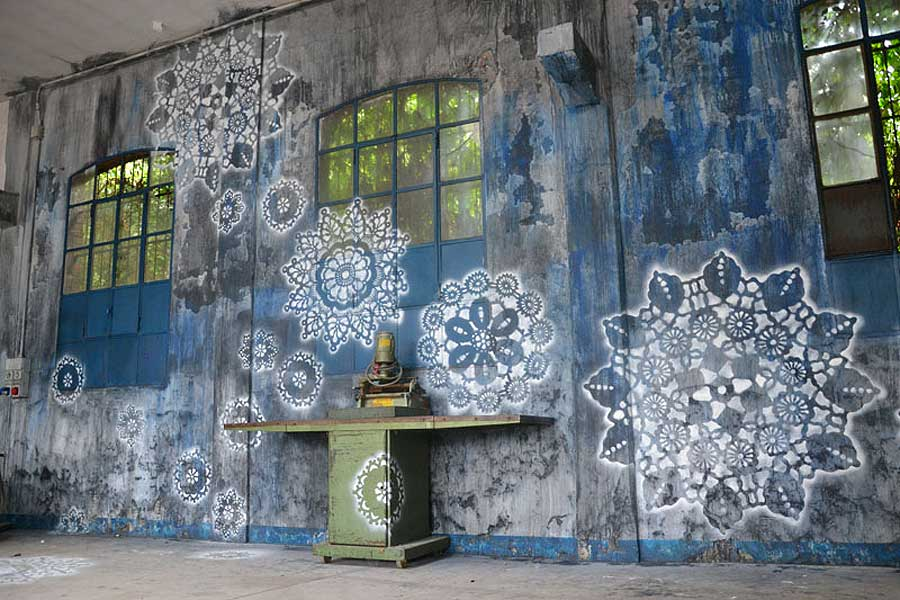 Intricate Patterns of Lace by street artist NeSpoon