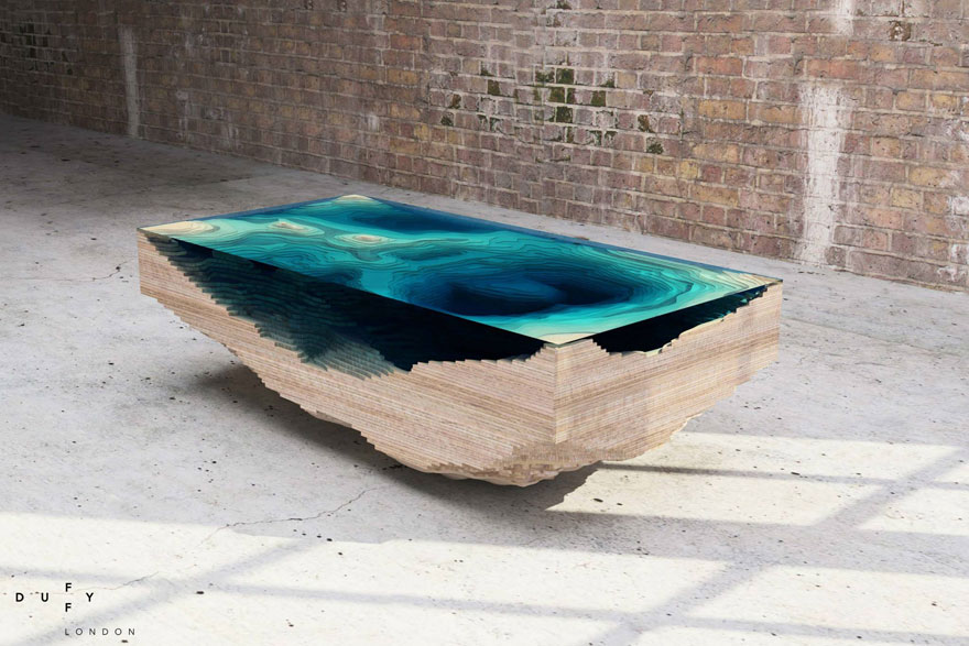 Amazing Layered Glass Table Mimics The Depths Of The Ocean