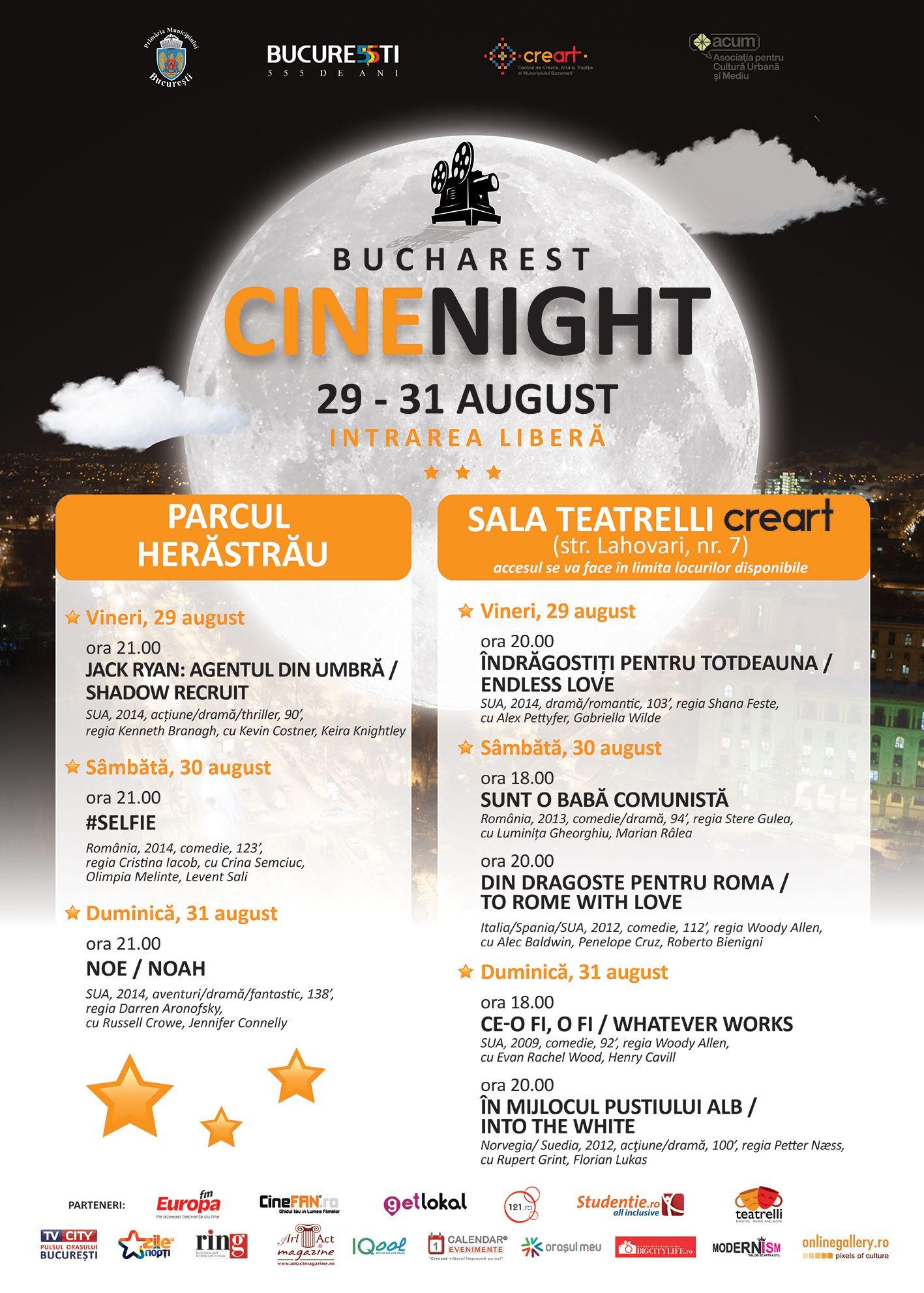 """,,Bucharest CineNight"""" invită toți bucureștenii la film în ultimul weekend din luna august"""