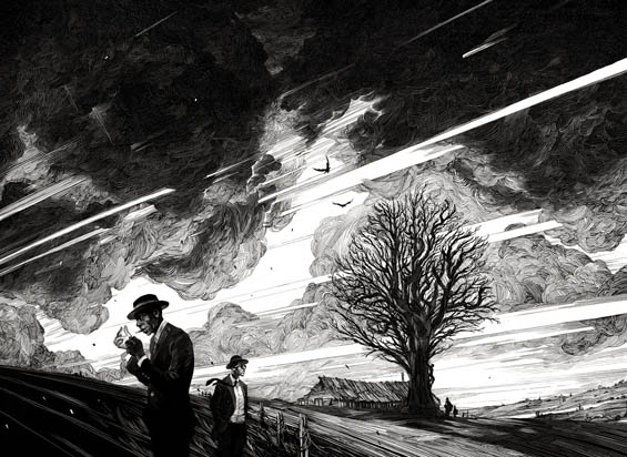 Artist Creates Elaborate Black And White Scratchboard Illustrations By Etching Into The Black Ink