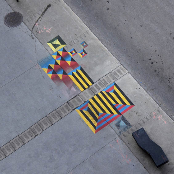Mathieu Connery's Colorful Geometric Murals On Sidewalks Have To Been Seen From Up In The Sky