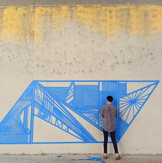 Eye-Catching Geometric Graffiti Murals Made Entirely From Tape