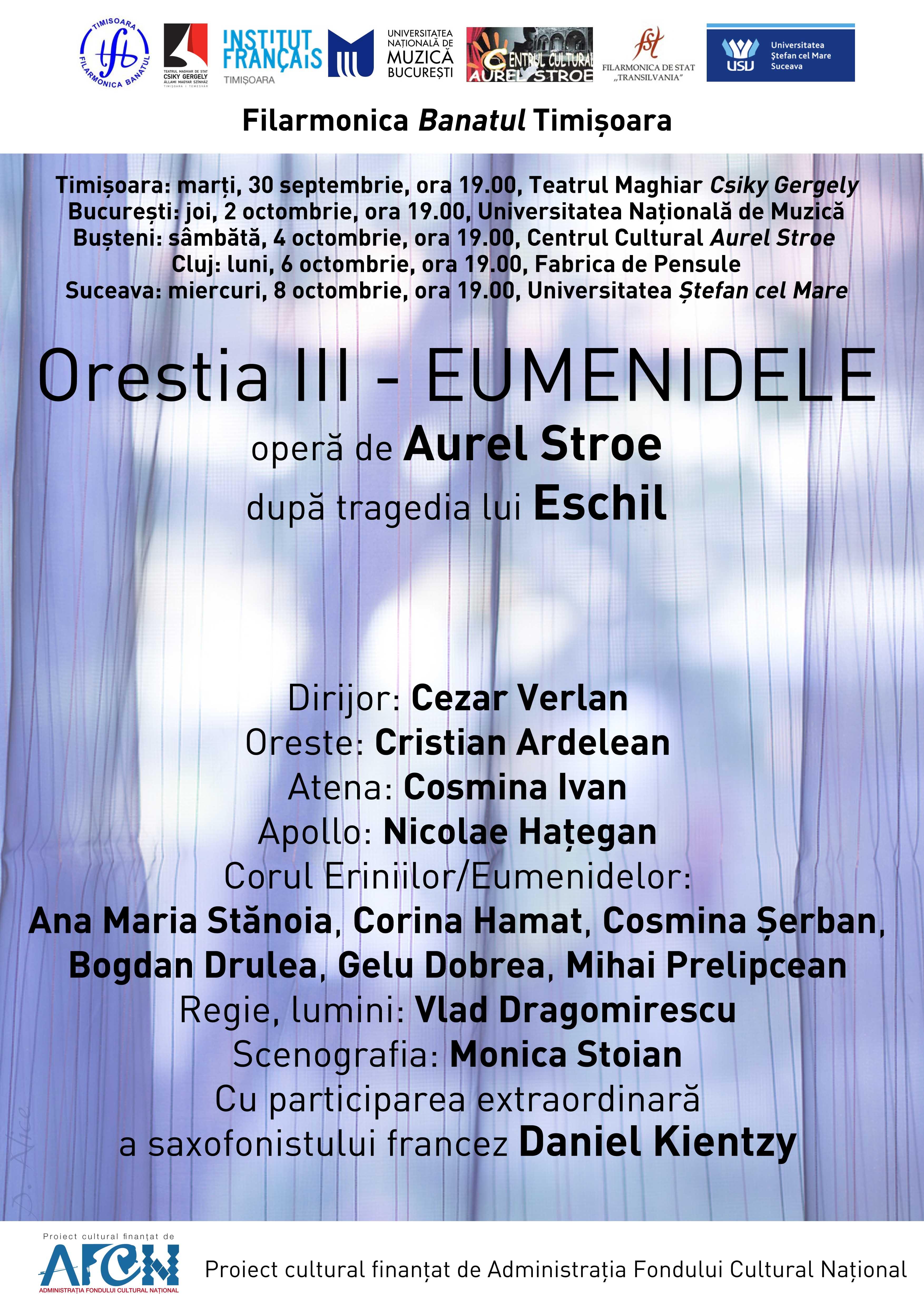 Spectacol din trilogia Orestia, singura păstrată integral din uriașa operă a lui Eschil, turneu prin țară