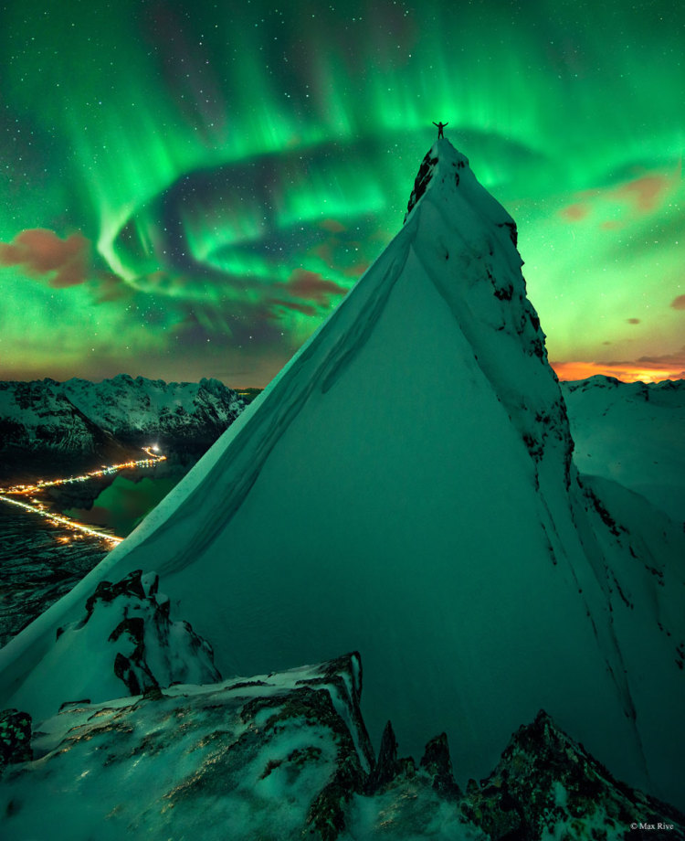 Stunning Image of an Aurora Captured Against a Summit Near Austnesfjord in Northern Norway
