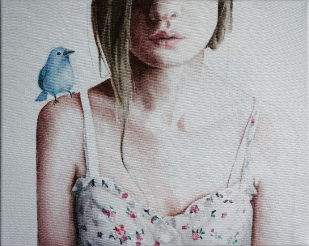 My friend is blue, acuarela pe panza,20X25 cm, 2014