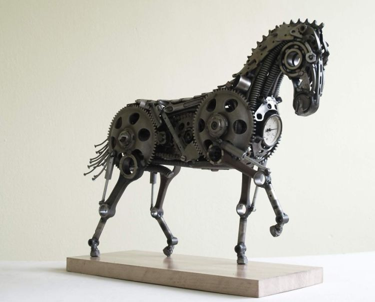 Delightful Metal Sculptures Made of Car and Motorcycle Parts