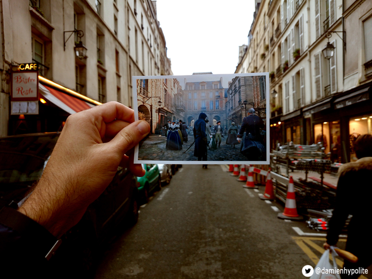 Screenshots of Paris in the Video Game 'Assassin's Creed: Unity' Superimposed Over Their Physical Locations