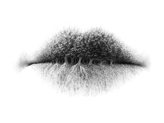 Christo Dagorov's Drawings Transform Lips Into Surreal Landscapes