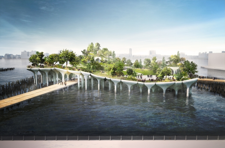 Pier55, A Proposed Park That Sits Atop a Dock on the Hudson River in New York City