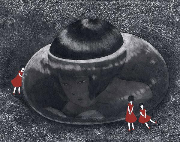 Akino Kondoh's Dark Drawings and Paintings of Childlike Characters