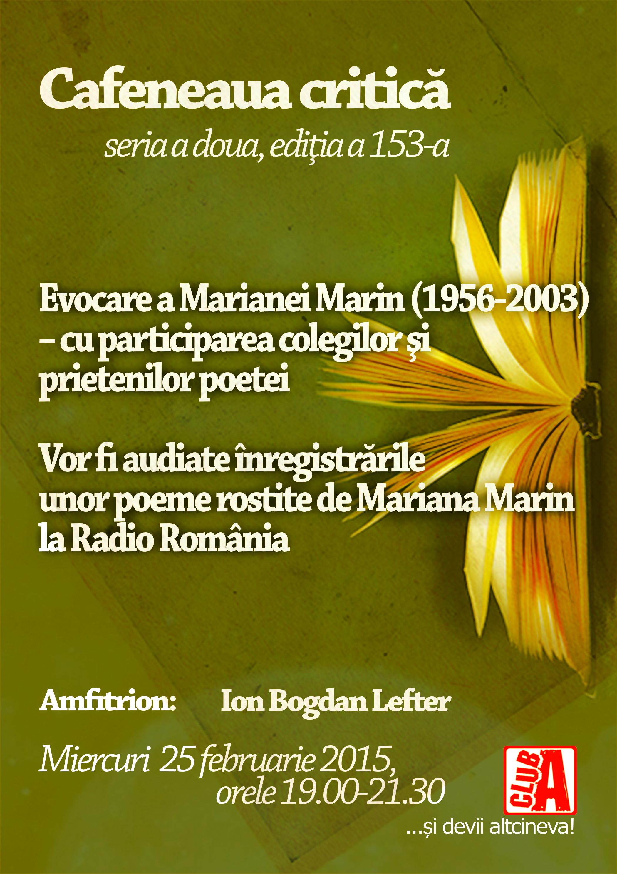 Vocea Marianei Marin la Cafeneaua critică