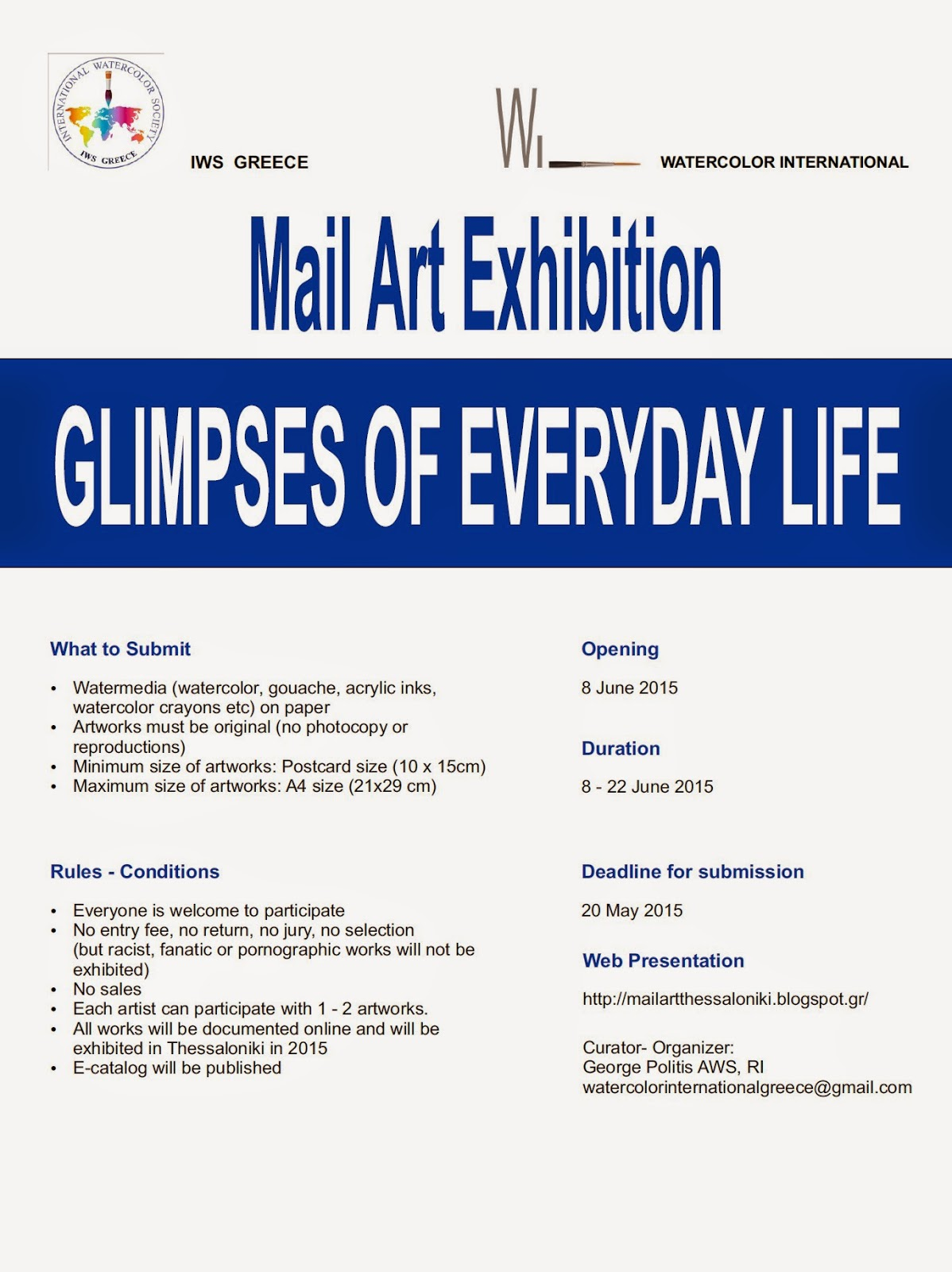 "Mail Art Project: ""Glimpses of Everyday Life"""