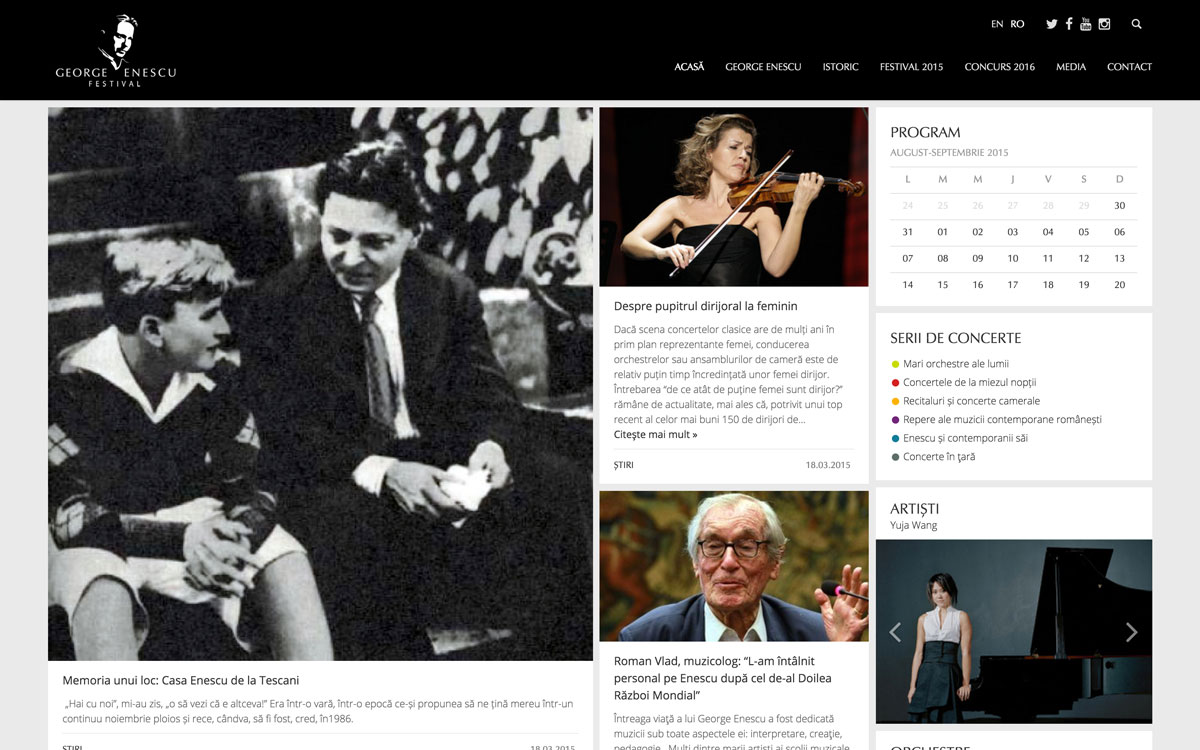 Noul site al Festivalului Enescu, o platformă de conținut multimedia aliniată la noile tehnologii