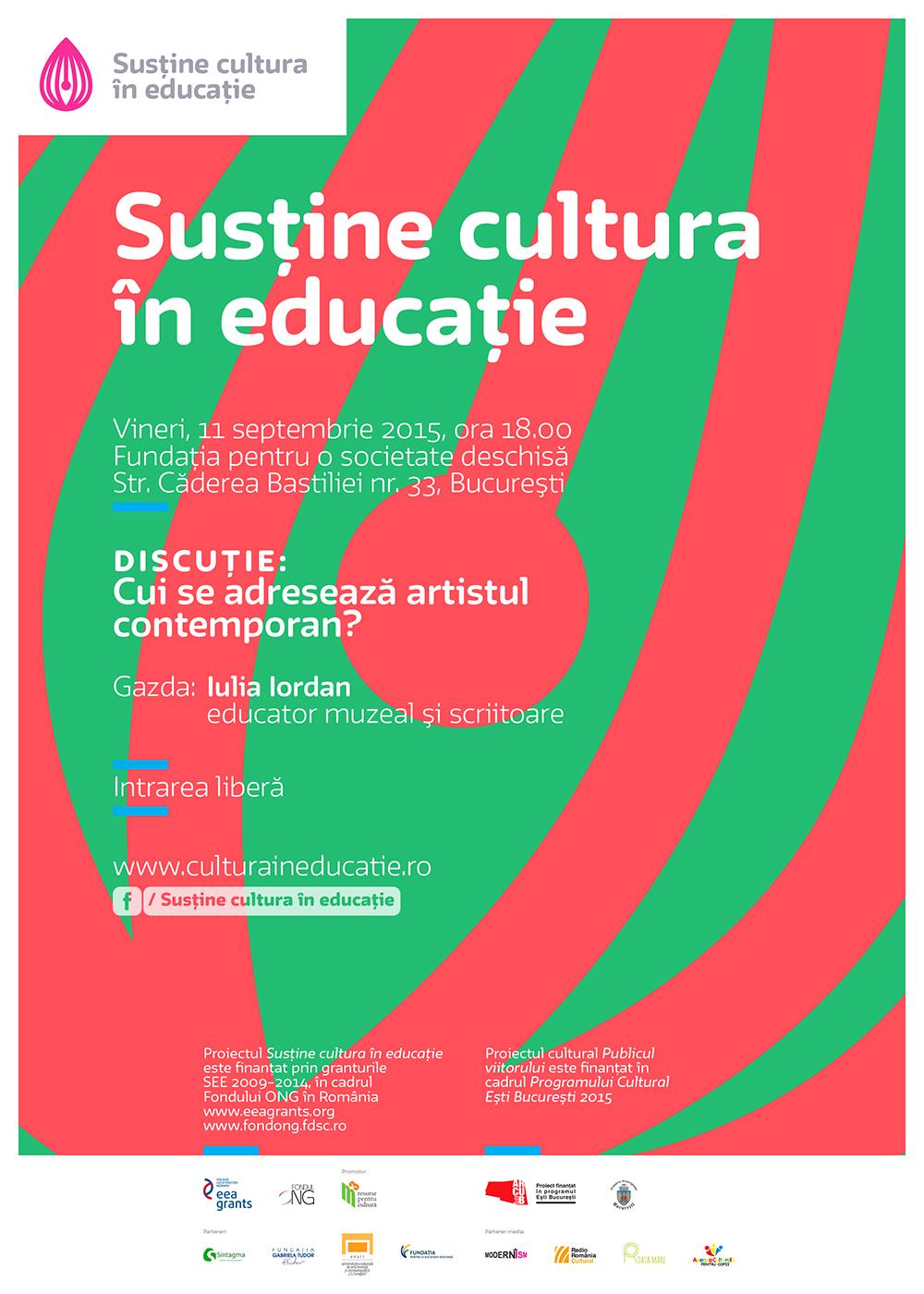 Cui se adresează artistul contemporan? @ Publicul Viitorului & Susține cultura în educație