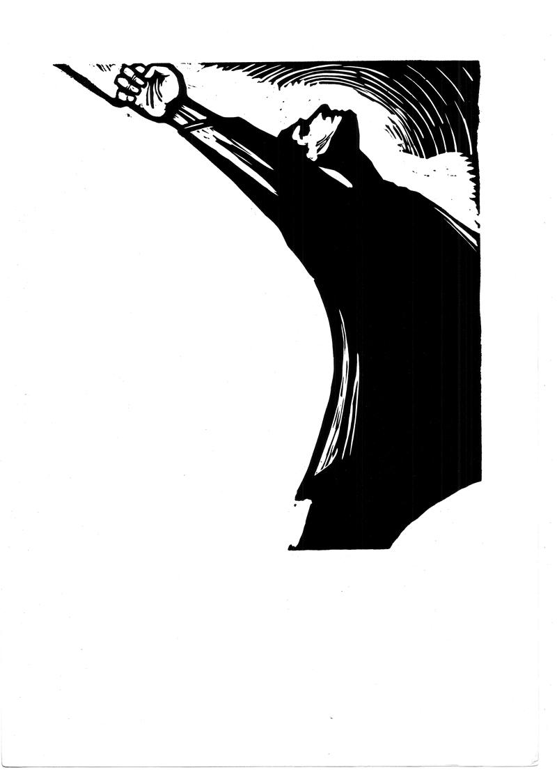 Gheorghe Botan, Vasile Roaita, 1960, linocut, 34x48,5  cm