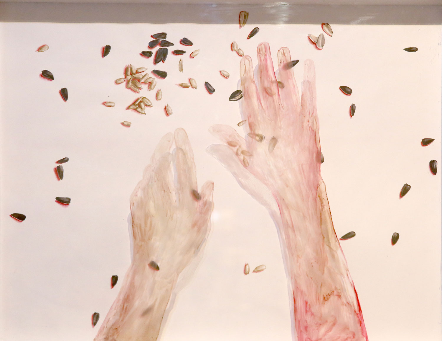 Diana Serghiuta, Seeds oil on glass watercolor on paper, 40 x 50 cm
