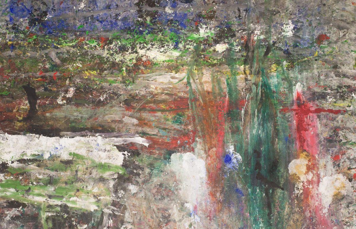 """Ioan Sbârciu (n. 1948), """"Pădurea de cenușă"""", tehnică mixtă pe pânză, 2015. Credit photo Galeria IAGA Contemporary Art"""