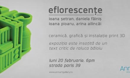 """Arina Ailincăi, Daniela Făiniş, Ioana Pioaru, Ioana Șetran """"Eflorescențe"""" @ Galeria AnnArt, București"""
