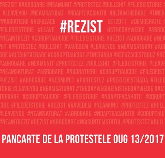 """""""#rezist. Pancarte de la protestele OUG 13/2017"""", albumul de fotografie al protestelor din România"""