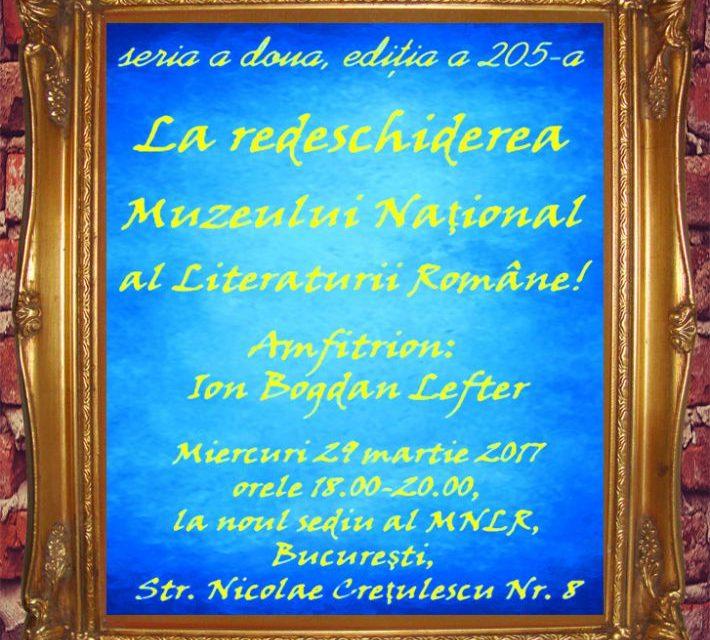 Redeschiderea Muzeului Naţional al Literaturii Române