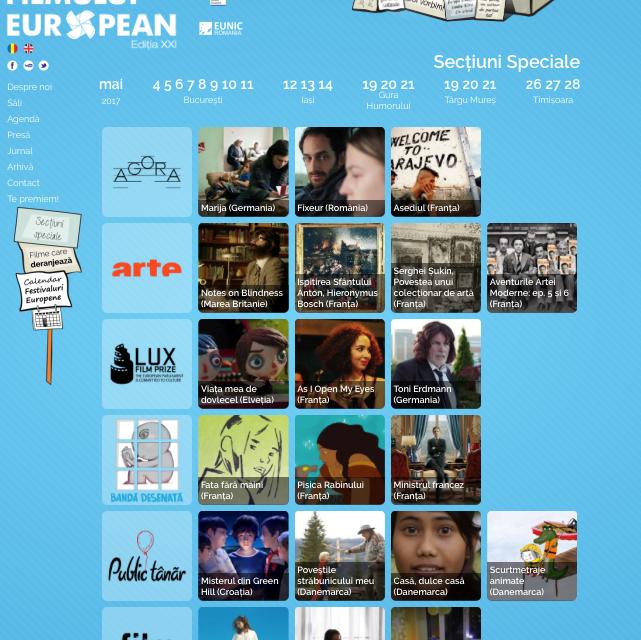 Festivalul Filmului European 2017 @ București, Iași, Târgu Mureș, Gura Humorului, Timișoara