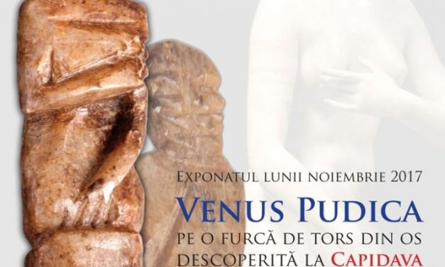 Exponatul lunii noiembrie 2017 la Muzeul Național de Istorie a României: Venus Pudica pe o furcă de tors din os descoperită la Capidava