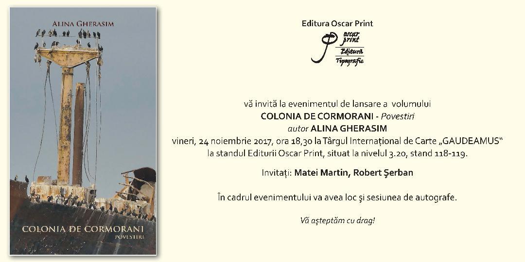 COLONIA DE CORMORANI – Povestiri – autor ALINA GHERASIM