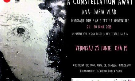 Expoziţia de artă vizuală Ana-Daria Vlad A CONSTELLATION AWAY 1.2/Disertaţie 2018 @ Departamentul Arte Textile şi Design Textil, Bucureşti