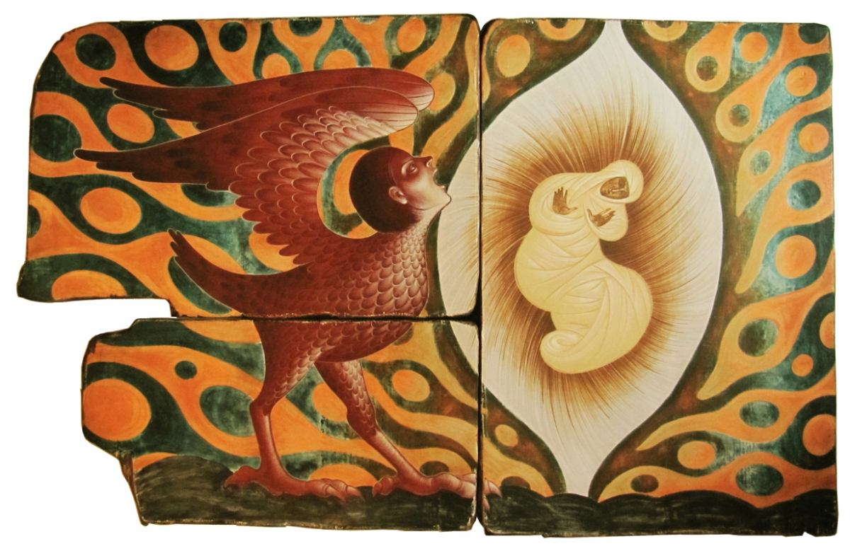 Matei Enric, In pantec- tempera pe lemn, ansamblu 3 piese, 110X176 cm