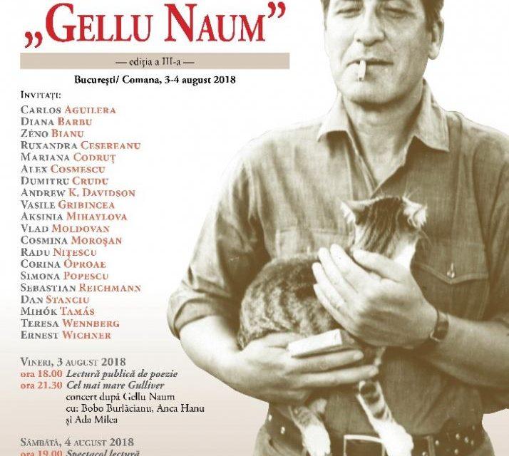 """Festivalul Internațional """"Gellu Naum"""", 3-4 august 2018, București/ Comana"""
