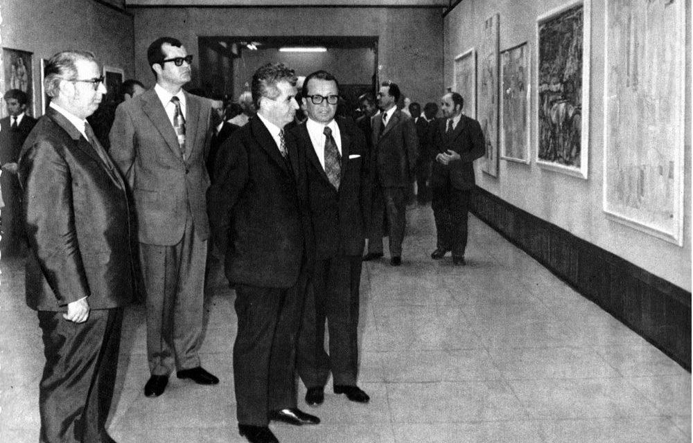 Brăduț Covaliu, Dumitru Popescu-Dumnezeu, Nicolae Ceaușescu și Ion Frunzetti în 1973