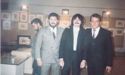 Petru Rusu și Serghei Niculescu-Mizil la expoziția de pictură organizată în 1987 la Roma