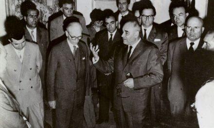 Nicolae Ceaușescu, Ion Jalea, Gheorghiu Dej, Chivu Stoica, Max Hermann Maxy, Gheorghe Anghel, Dan Grigorescu, Corneliu Baba, Ion Irimescu în 1963