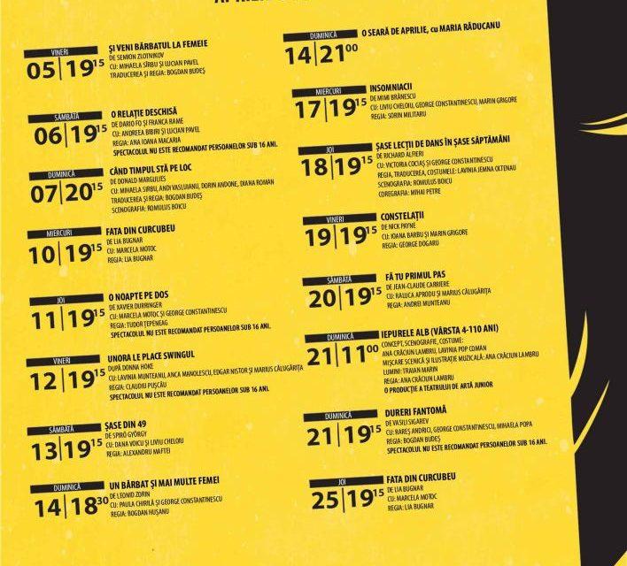 Bucurie de luat în vacanță, în luna aprilie, la Teatrul de Artă București
