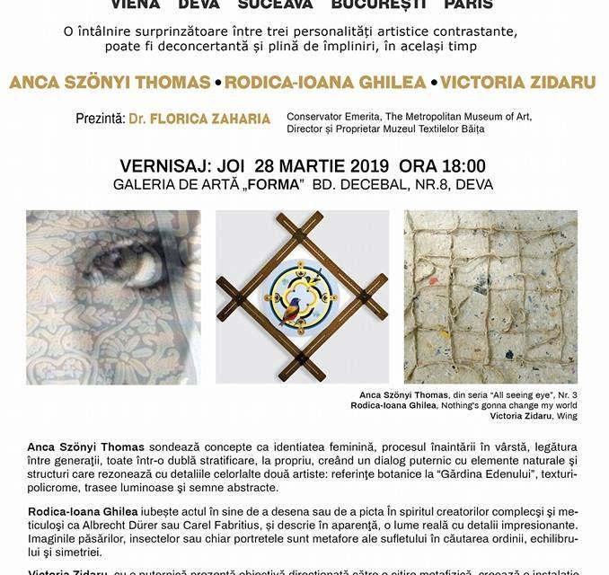 """Expoziția itinerantă """"THREE PARADISE NOTES (TREI ÎNSEMNĂRI DESPRE PARADIS)"""", ANCA SZÖNYI THOMAS, RODICA-IOANA GHILEA, VICTORIA ZIDARU @ Galeria de Artă """"FORMA"""" Deva"""