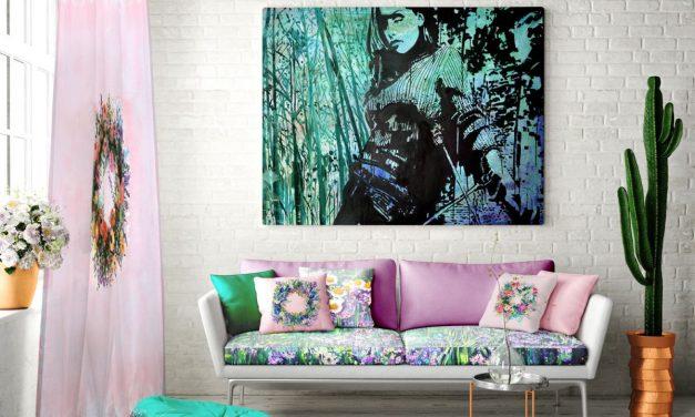 Picturile Mirelei Traistaru transpuse in printuri digitale pe textile, pentru decorarea unui showroom