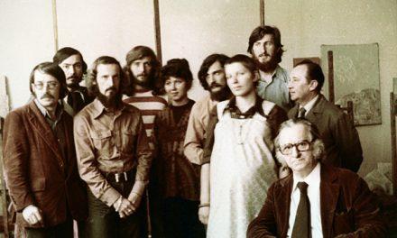 Corneliu Baba, promoția 1973: C. Movilă, D. Coltofeanu, Marilena Măntescu, Liviu Călinescu, Virgil Parghel, R. Cojan, C. Baba, pictorul Marius Cilievici.