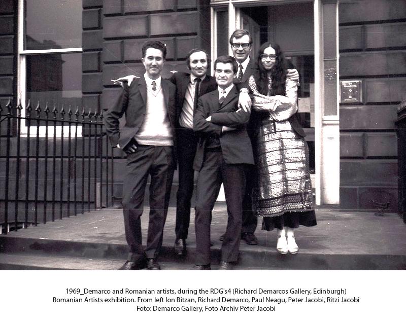 Ion Bitzan, Richard Demarco, Paul Neagu, Peter Jacobi, Ritzi Jacobi in Edinburgh, 1969