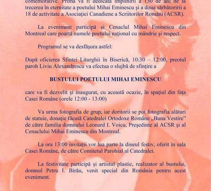 Dezvelirea bustului lui Mihai Eminescu la Montreal