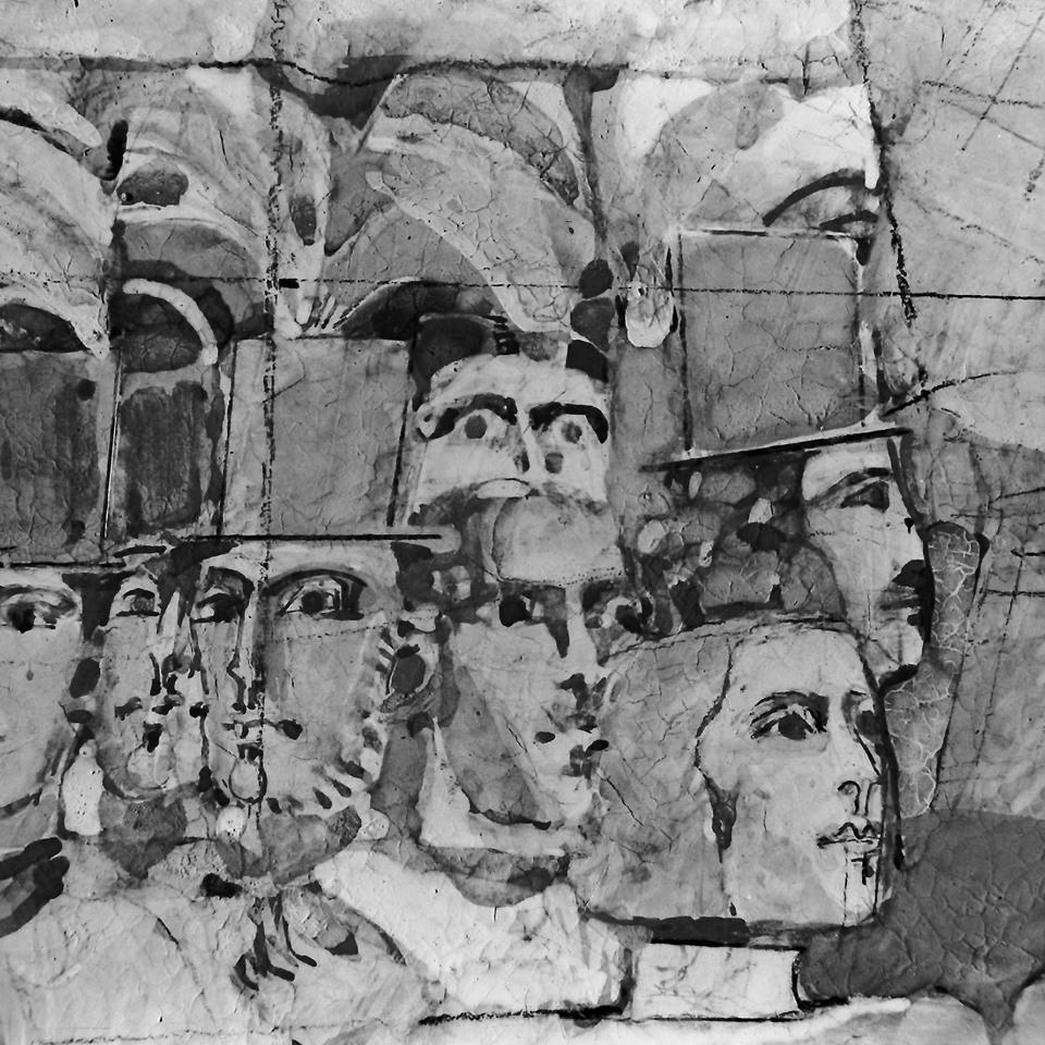 Pictorul Virgil Almașanu, proiect pentru Teatrul Național, mozaic în exterior fațada principală și cele două laterale, 1975, foto Eugeniu Lupu