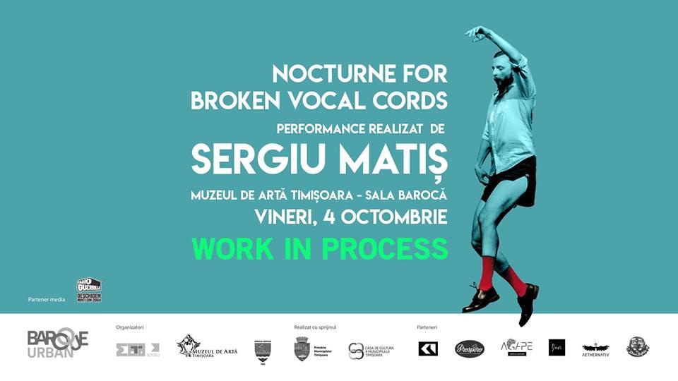 WORK IN PROCESS Sergiu Matiș, unul dintre cei mai cunoscuți performeri români, vine la Timișoara în cadrul Baroque||Urban 2019