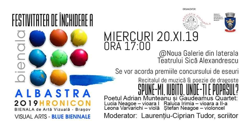 BIENALA ALBASTRĂ – Bienala Internațională de Arte Vizuale din Brașov 2019, HRONICON – un eveniment cultural de mare amploare, unic în sud-estul Transilvaniei