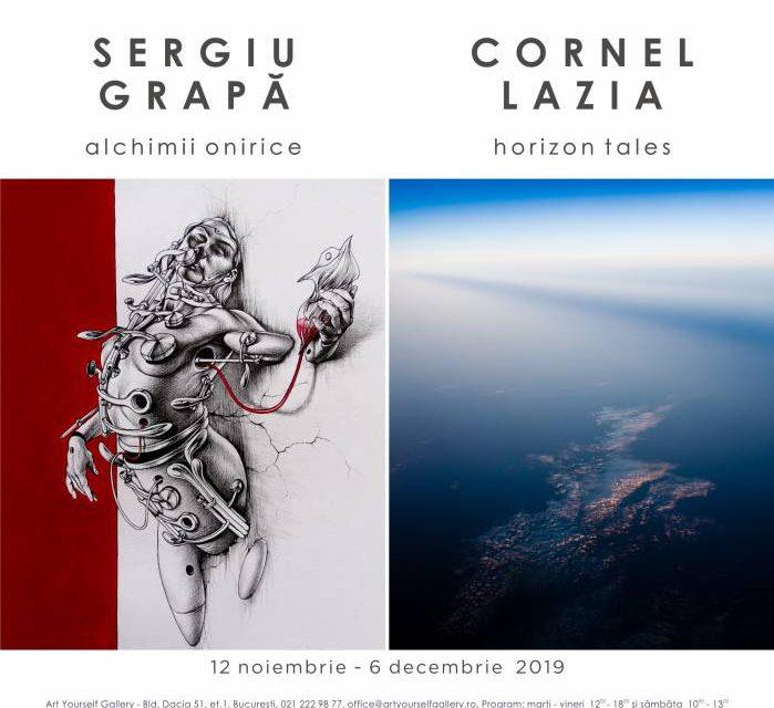 """Expoziție de fotografie Cornel Lazia """"Horizon Tales"""" și expoziție de grafică Sergiu Grapa """"Alchimii onirice"""" @ Art Yourself Gallery, București"""