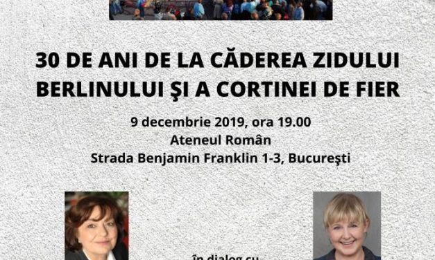 """Conferințele Ateneului Român: Ana Blandiana șiMarianne Birthler dezbat despre """"30 de ani de la căderea Zidului Berlinului și a Cortinei de Fier"""""""