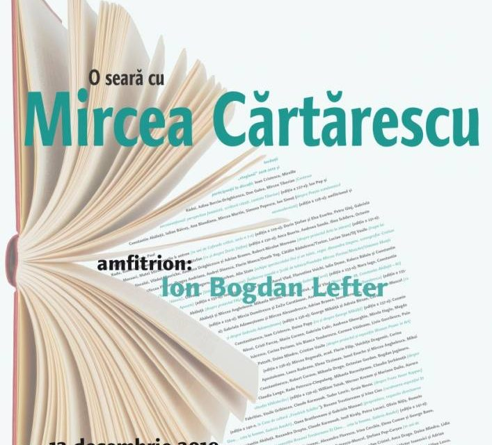 Seară Mircea Cărtărescu la Cafeneaua critică @ Muzeul Naţional al Literaturii Române – MNLR