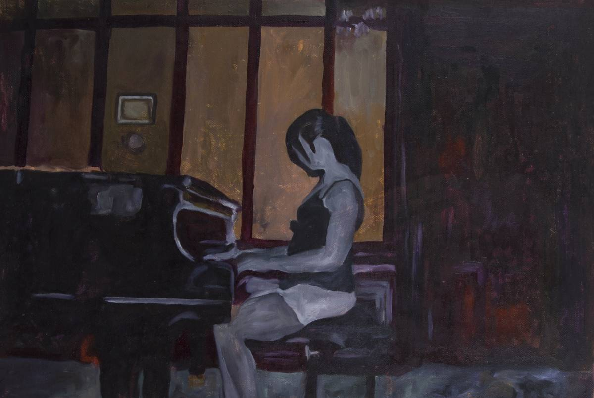 Woman on the piano, 38x28 cm, oil on canvas, 2019 - Mihaela Mihalache