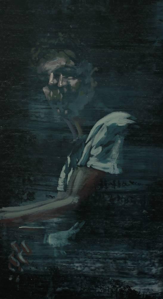 Istvan Betuker, Reflection, acrylics on canvas, 65 x 36 cm, 2019, Cornel Lazia