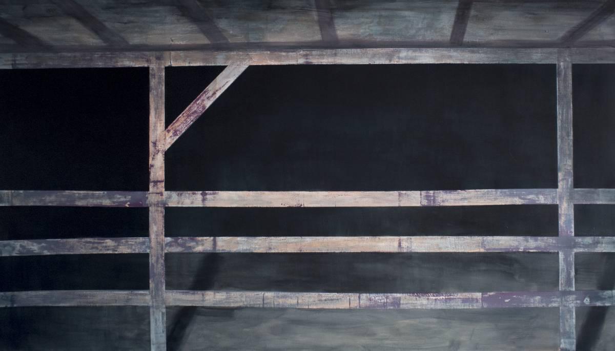 Istvan Betuker, The fence, acrylics on paper, 100 X 200 cm, 2015, Cornel Lazia